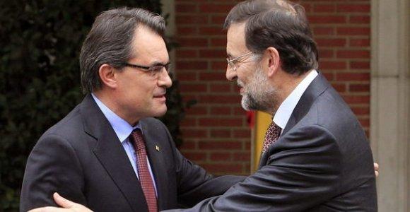 El President de l'estat espanyol, Mariano Rajoy, amb el President de la Generalitat de Catalunya, Artus Mas.