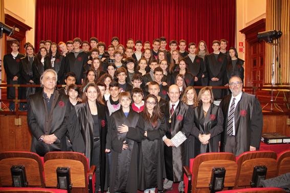 Instantànea de la visita de l'escola Virolai el passat divendres al Col·legi d'Advocats de Barcelona.