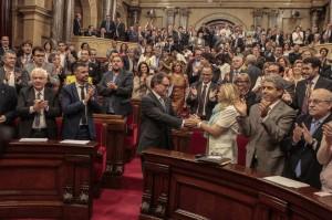 Imatge de la votació al Parlament de Catalunya de la Llei de Consultes. Font: www.parlament.cat