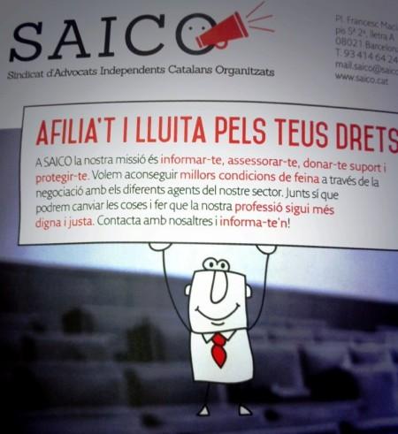 Imatge d'un dels tríptics d'informació del Sindicat d'Advocats Independents Catalans Organitzats (SAICO).