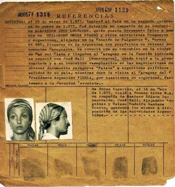 """Foto de la fitxa trobada als """"Arxius del Terror"""" de Marta Landli Gil, ciutadana argentina de 22 anys que es va escapar de la repressió refugiant-se al Paraguai, amb quatre companys més, on van ser capturats el 1977. Extreta d'aquest article sobre Pla Còndor. La fitxa completa amb més detalls està disponible aquí."""